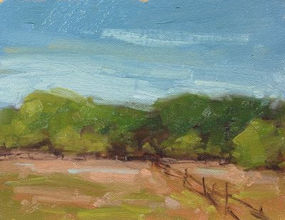 """Overcast and raining, but still painting..."" original fine art by Laurel Daniel"