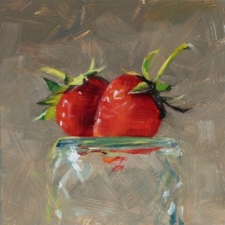 """Oil Painting of the First Strawberries"" original fine art by Deb Anderson"