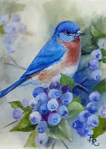 """""""Blueberry Bluebird"""" original fine art by Paulie Rollins"""