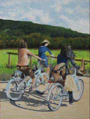 """""""Bicycle Group"""" original fine art by Nan Johnson"""