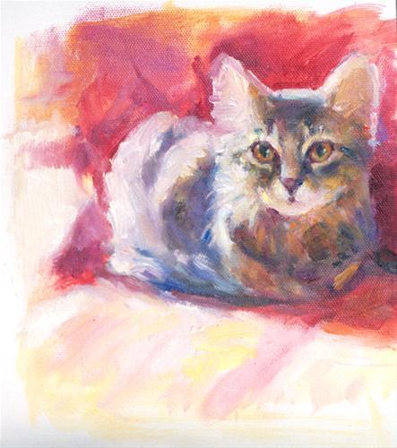 """Little Kitten on Red Chair"" original fine art by Sharon Savitz"