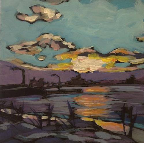 """Duluth Sunset, Two Light Poles"" original fine art by Kat Corrigan"