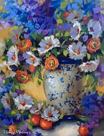 """New Video and Joyful Blooms Orange Ranunculus - Flower Paintings by Nancy Medina Art"" original fine art by Nancy Medina"