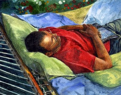 """Watercolor: Summer Sunday"" original fine art by Belinda Del Pesco"