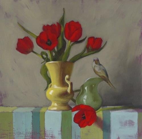 """Shape of Things, floral still life with small bird painting"" original fine art by Diane Hoeptner"