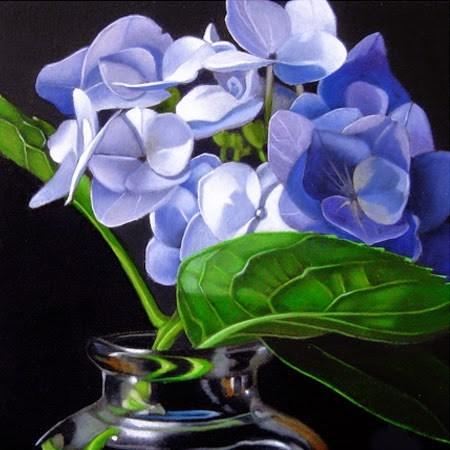 """""""Small Hydrangea 4x4"""" original fine art by M Collier"""