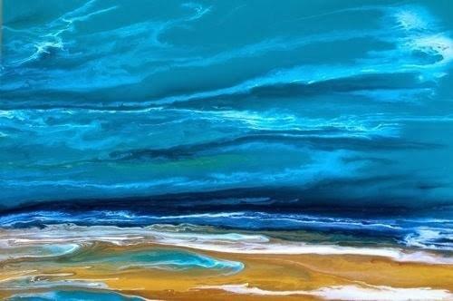 """Contemporary Beach Art, Abstract Seascape Painting, Coastal Art A Beautiful Storm by International"" original fine art by Kimberly Conrad"