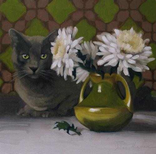 """""""On Duty gray cat and white mum painting"""" original fine art by Diane Hoeptner"""