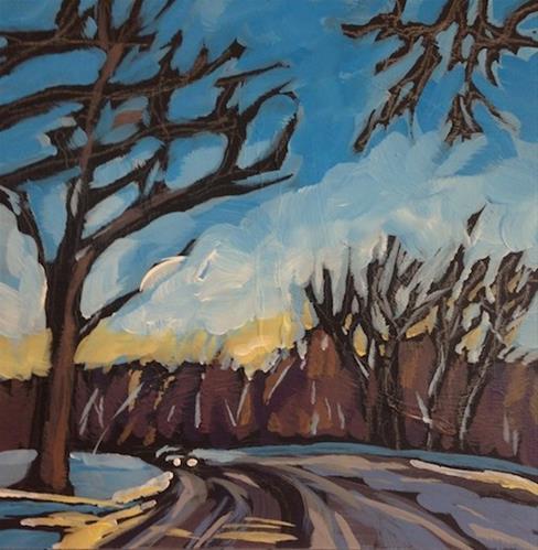 """River Road at 38th Street, Morning"" original fine art by Kat Corrigan"