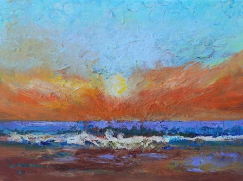 """Sunrise, Contemporary Beach and Ocean Paintings by Amy Whitehouse"" original fine art by Amy Whitehouse"