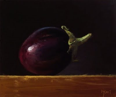"""""""Homegrown Eggplant in Early Morning Light"""" original fine art by Abbey Ryan"""