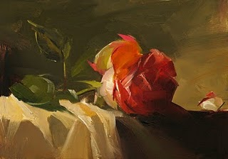 """""""Red Rose Study 3"""" original fine art by Qiang Huang"""