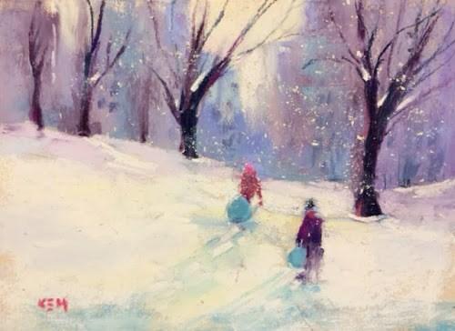 """Chicago Daily Painting...Sledding in Lincoln Park"" original fine art by Karen Margulis"