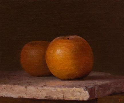 """""""Two Asian Pears on Marble  (+ a Special Contest !)"""" original fine art by Abbey Ryan"""
