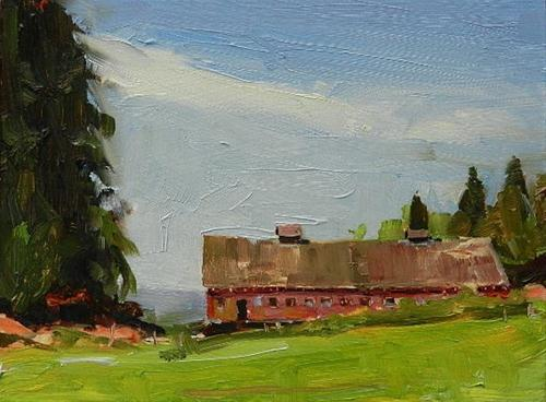 """""""The Barn by Egg and I Road oil landscape painting by Robin Weiss"""" original fine art by Robin Weiss"""