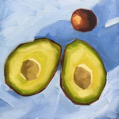 """Almost Guacamole 8x8"" original fine art by Sharon Schock"