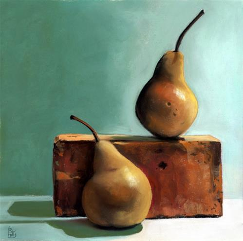 """two pears pastel painting"" original fine art by Ria Hills"