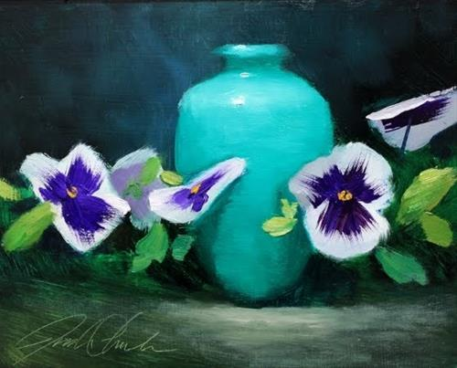 """""""'Pansies with Vase'"""" original fine art by Justin Clements"""