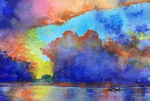 """Wave Study 12, 4 x 6,  Watercolor, Seascape"" original fine art by Donna Pierce-Clark"