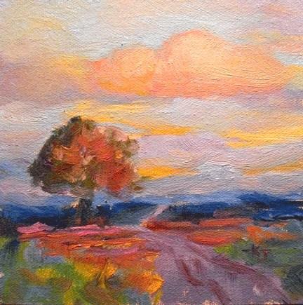 """""""#28 Lone Oak, Sunset on Field of Flowers"""" original fine art by Kathy Johnson"""