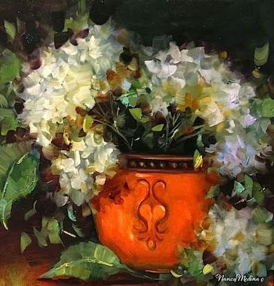 """Day 20 ~ Harvest Season White Hydrangeas by Floral Artist Nancy Medina"" original fine art by Nancy Medina"