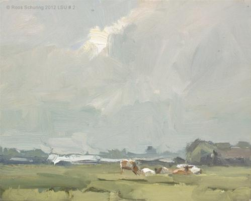 """Landscape summmer #2 Cows / Harmony after the rain - Koeien"" original fine art by Roos Schuring"