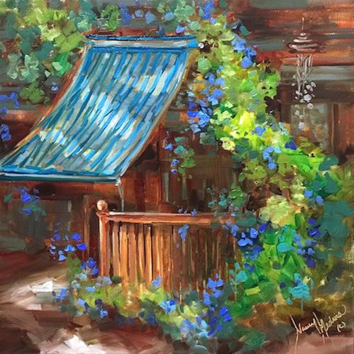 """Wind Chimes and Morning Glories"" original fine art by Nancy Medina"