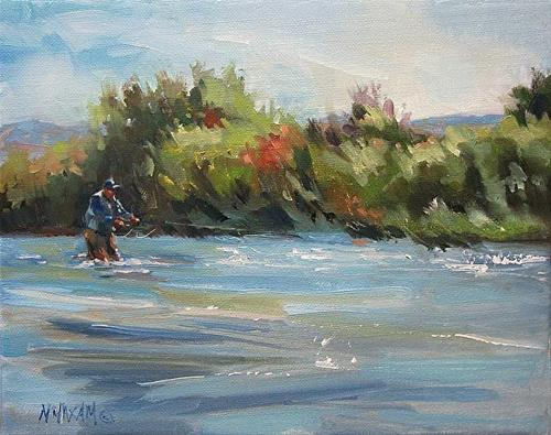"""""""High Water, more fly fishing ...Big Horn River"""" original fine art by Mary Maxam"""