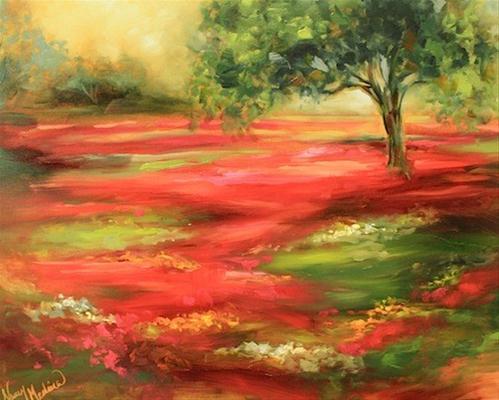 """Summerfield Indian Paintbrush and a Texas Landscape Workshop by Nancy Medina"" original fine art by Nancy Medina"
