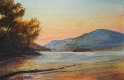 """Hudson River Sunset from Dennings Point"" original fine art by Jamie Williams Grossman"