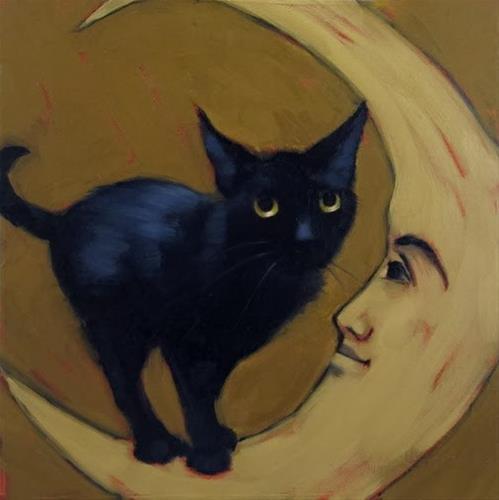 """Black Cat on Moon oil painting by Diane Hoeptner"" original fine art by Diane Hoeptner"