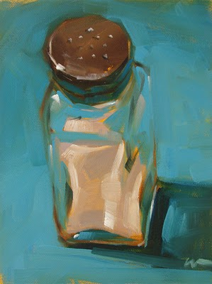 """Salt on Blue --- SOLD"" original fine art by Carol Marine"