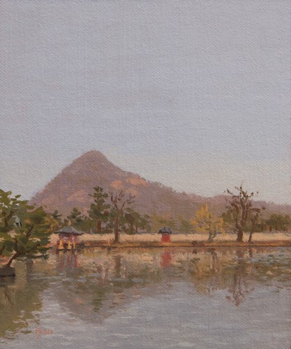 """Gyeongbokgung Palace Reflections, Seoul (South Korea 2013 painting #3 of 4)"" original fine art by Abbey Ryan"
