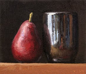 """""""Red Pear with Handmade Cup"""" original fine art by Abbey Ryan"""