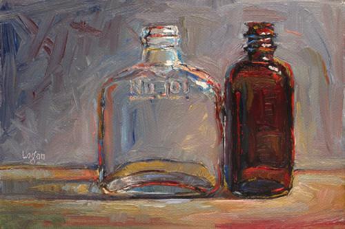 """""""Thrift Store Bottles"""" original fine art by Raymond Logan"""