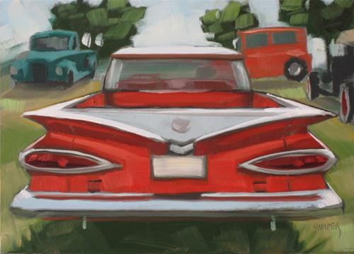 """1959 Chevy el Camino 5x7 oil"" original fine art by Claudia Hammer"