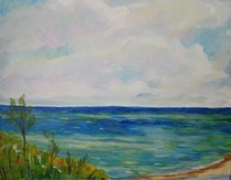 """Shades Beach"" original fine art by Maggie Flatley"