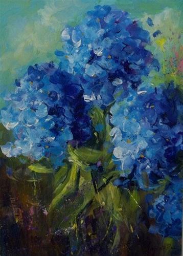 """""""Heavenly Blue Hydrangeas"""" original fine art by Alice Harpel"""