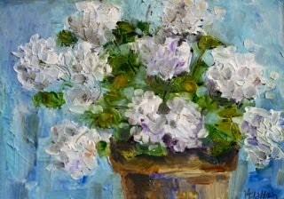 """""""White Geraniums"""" original fine art by Maggie Flatley"""