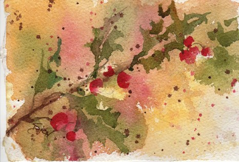 """""""Holly Berries"""" original fine art by Sue Dion"""