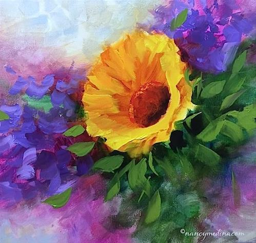 """""""Violet Fire Sunflower and a Louisiana Workshop - Flower Painting Classes and Workshops by Nancy Medi"""" original fine art by Nancy Medina"""