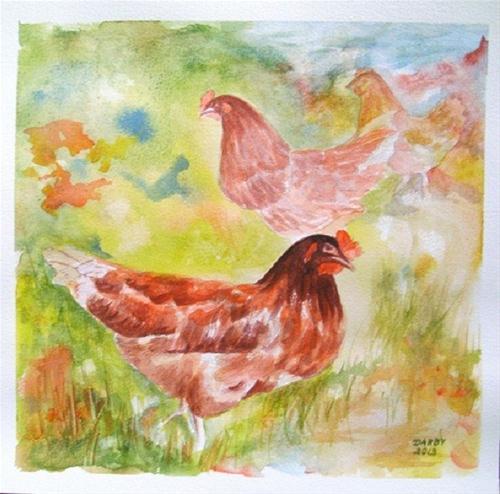 """""""Peckin Order"""" original fine art by Lynn Darby"""