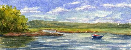 """""""Cape Cod ~ Blue Rowboat"""" original fine art by Vikki Bouffard"""