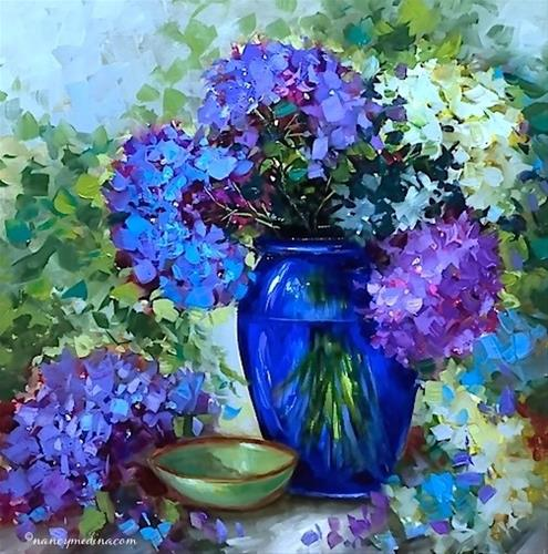 """""""Blue Heaven Hydrangeas and Tough Choices in the Garden - Flower Painting Classes and Workshops by Na"""" original fine art by Nancy Medina"""