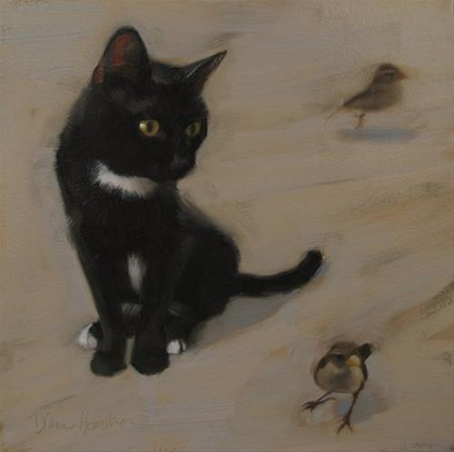 """""""The Meeting young black cat meets sparrows"""" original fine art by Diane Hoeptner"""