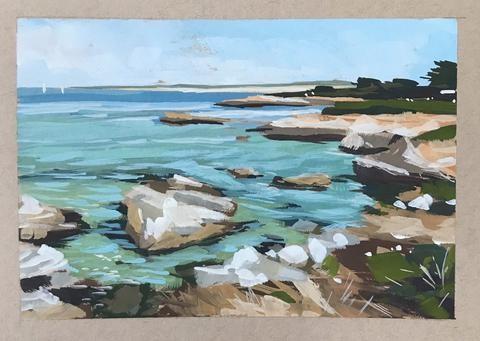 """""""Monterery Shoreline"""" original fine art by Sharon Schock"""