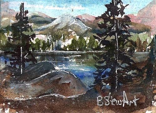 """""""ACEO Landscape Watercolor Mountain Trees Lake Mat 5x7 SFA PennyStewArt"""" original fine art by Penny Lee StewArt"""
