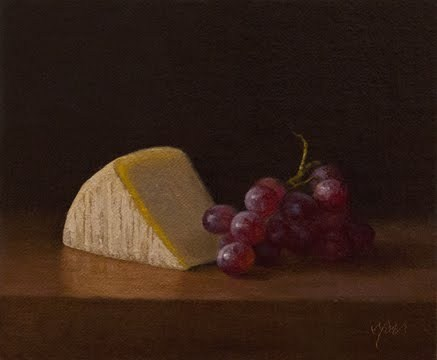 """""""Red Grapes with Tuscan Parmesan (Italy painting #1)"""" original fine art by Abbey Ryan"""