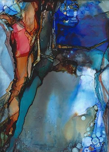"""""""Abstract Painting, Alcohol Ink BENEATH THE WAVES  by New Orleans Artist Lou Jordan"""" original fine art by Lou Jordan"""