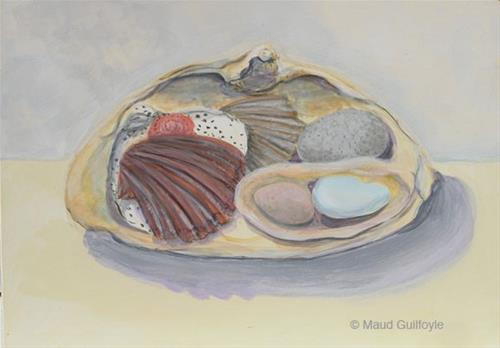 """Shells in Shell"" original fine art by Maud Guilfoyle"